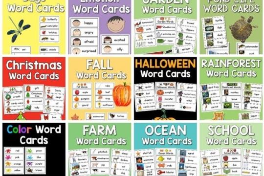 Bộ sưu tập flashcard từ vựng các chủ đề Word Card Collection